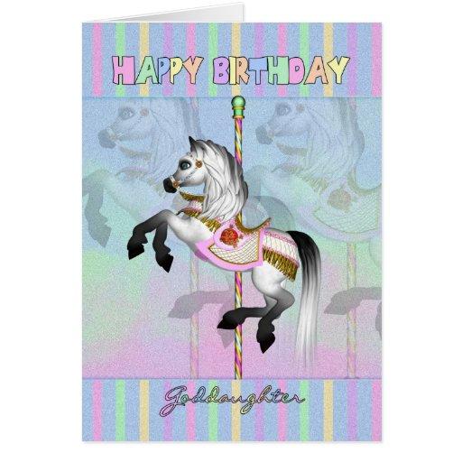 tarjeta de cumpleaños del carrusel de la ahijada -