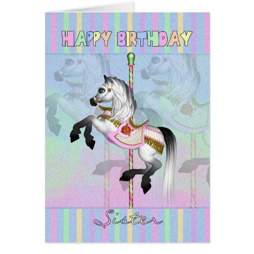 tarjeta de cumpleaños del carrusel de la hermana -