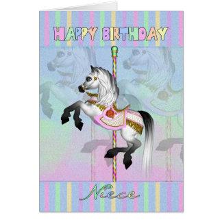 tarjeta de cumpleaños del carrusel de la sobrina -