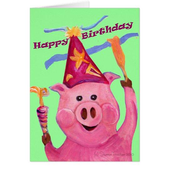 Tarjeta de cumpleaños del cerdo de la celebración