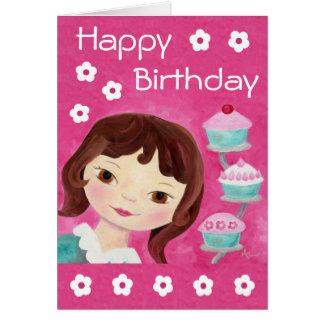 Tarjeta de cumpleaños del chica de la magdalena
