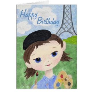 Tarjeta de cumpleaños del chica del artista