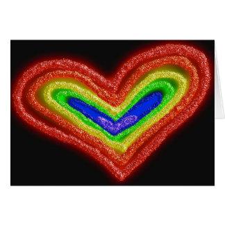 Tarjeta de cumpleaños del corazón del arco iris