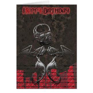 Tarjeta de cumpleaños del cráneo del Grunge