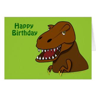 Tarjeta de cumpleaños del dinosaurio de Rex del