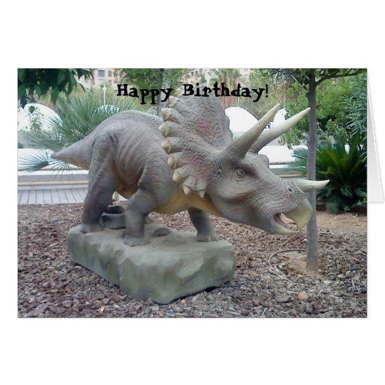 Tarjeta de cumpleaños del dinosaurio del