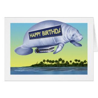 Tarjeta de cumpleaños del dirigible no rígido del