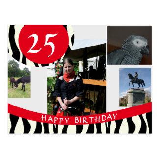 Tarjeta de cumpleaños del diseño de la cebra tarjetas postales