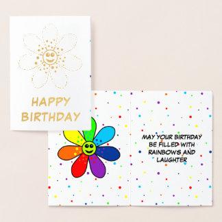 Tarjeta de cumpleaños del efecto metalizado de la