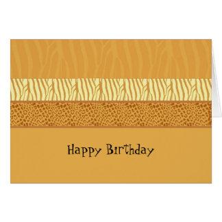 Tarjeta de cumpleaños del estampado de animales