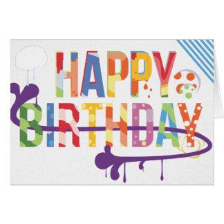 Tarjeta de cumpleaños del estilo del arte de la pi