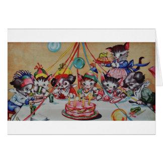 Tarjeta de cumpleaños del fiesta del gato y del