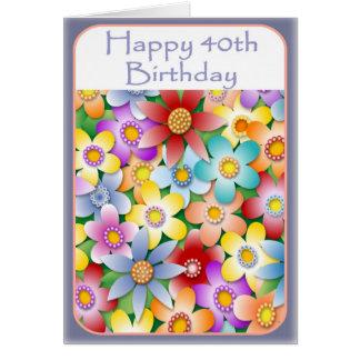 Tarjeta de cumpleaños del flower power de la diva