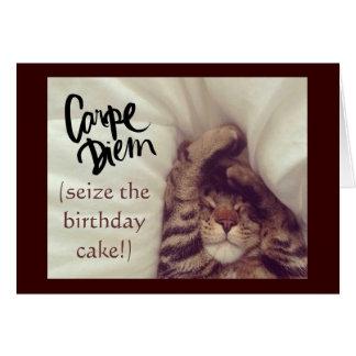 Tarjeta de cumpleaños del gato de Carpe Diem