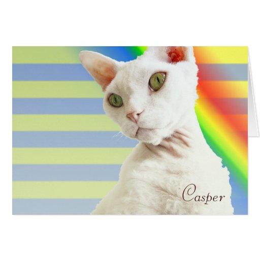 Tarjeta de cumpleaños del gato del arco iris el |