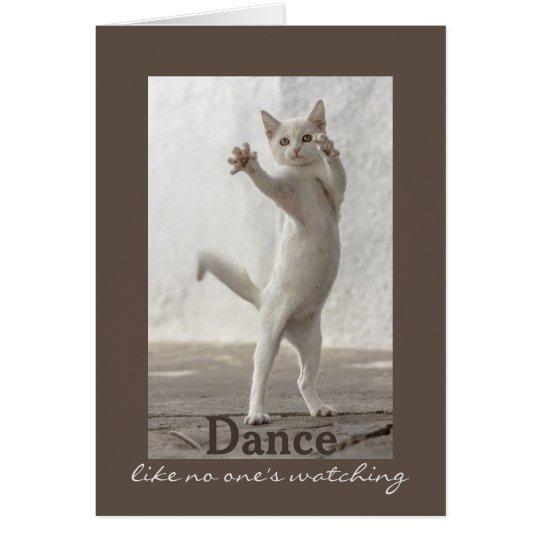 Tarjeta de cumpleaños del gato del baile