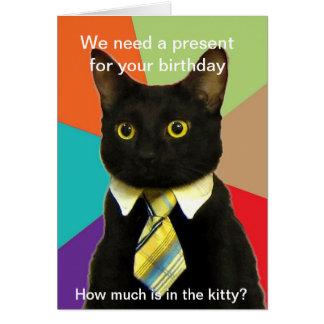 Tarjeta de cumpleaños del gato del negocio