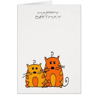 Tarjeta de cumpleaños del gato - Squiggles el coch
