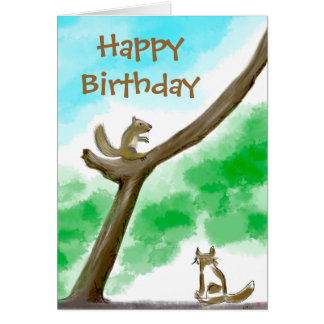 Tarjeta de cumpleaños del gato y de la ardilla