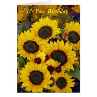 Tarjeta de cumpleaños del girasol