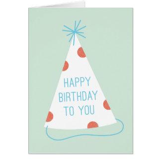 Tarjeta de cumpleaños del gorra del fiesta - menta