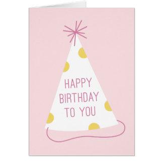 Tarjeta de cumpleaños del gorra del fiesta - rubor