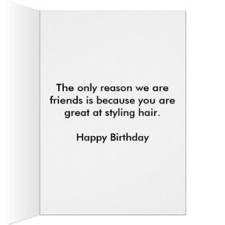 Tarjeta de cumpleaños del Hairstylist