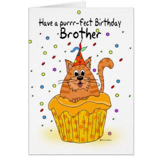 tarjeta de cumpleaños del hermano con el gato de l