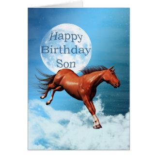 Tarjeta de cumpleaños del hijo con el caballo del