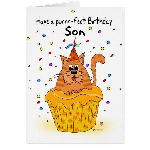 tarjeta de cumpleaños del hijo con el gato de la m