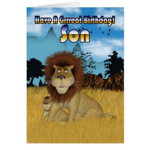 Tarjeta de cumpleaños del hijo - león y Cub