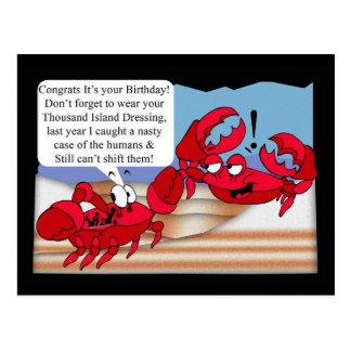 Tarjeta de cumpleaños del humor con dos cangrejos postal