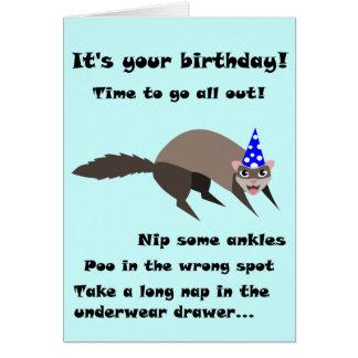 Tarjeta de cumpleaños del hurón