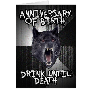 Tarjeta de cumpleaños del lobo de la locura