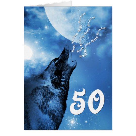 Tarjeta de cumpleaños del lobo del fantasma 50.a