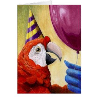 Tarjeta de cumpleaños del loro del fiesta