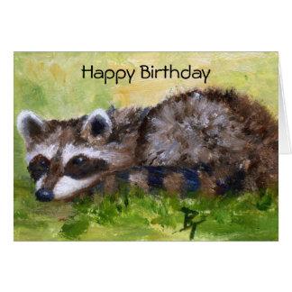 Tarjeta de cumpleaños del mapache del aceo del