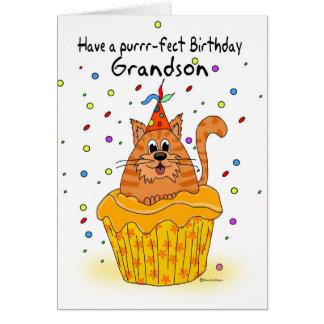tarjeta de cumpleaños del nieto con el gato de la