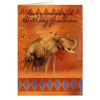 Tarjeta de cumpleaños del nieto con la mariposa de