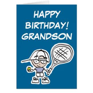 Tarjeta de cumpleaños del nieto con poco muchacho