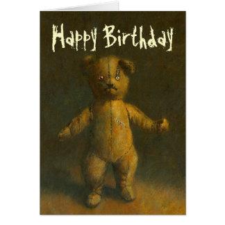 Tarjeta de cumpleaños del oso de peluche del zombi