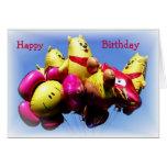 Tarjeta de cumpleaños del oso del globo