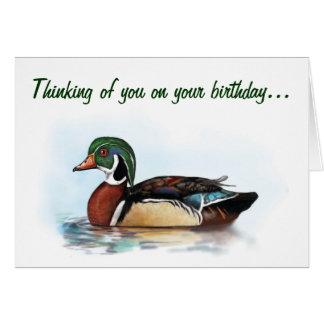 Tarjeta de cumpleaños del pato de madera