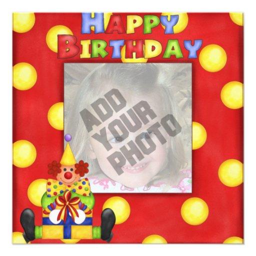 Tarjeta de cumpleaños del payaso de la foto invitaciones personalizada