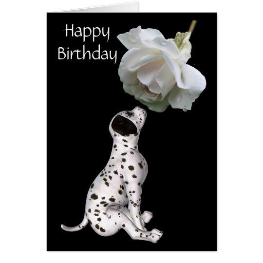 Tarjeta de cumpleaños del perrito dálmata y del