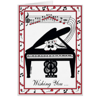 Tarjeta de cumpleaños del piano de cola