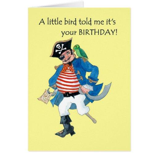 Tarjeta de cumpleaños del pirata y del loro