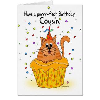 tarjeta de cumpleaños del primo con el gato de la