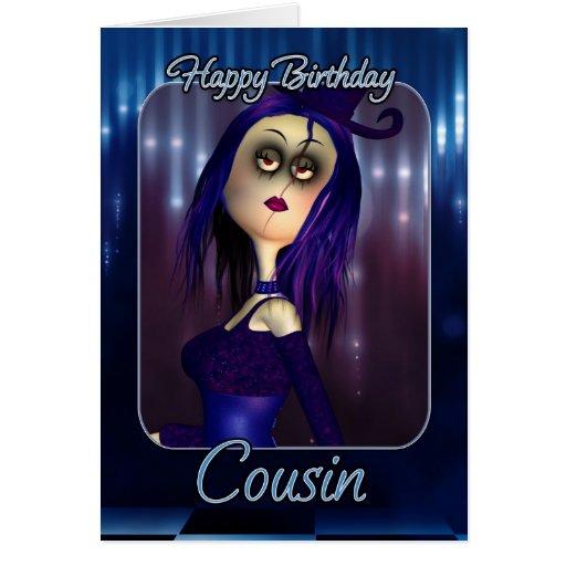 Tarjeta de cumpleaños del primo - gótico lindo de