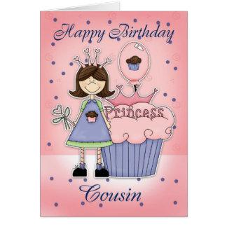 Tarjeta de cumpleaños del primo - princesa de la m